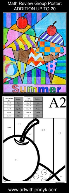 Use art to review math! This product includes 2 large group coloring posters. The colors are decided based on math problems written on the grid handouts. Addition up to 20 and Subtraction from as high as 25 are included on these two posters. Do one or do both, depending on the needs of your students. In the end you'll have a beautiful summer poster to display in your room or at your school!