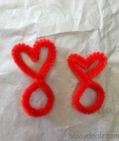 DIY Valentine Heart Rings Made From Pipe Cleaners - Crafty Morning