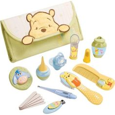 $23.70-$29.99 Baby The Disney Winnie the Pooh Infant Health Kit by Summer Infant is fully equipped for all of your baby care needs.The kit includes a cute Winnie the Pooh carrying bag, brush, comb, baby nail clippers, fingerbrush with case, nasal aspirator, medicine spoon, pacifier medicine dispenser, digital thermometer, teether and five emery boards.Each of the kit's 16 pieces feature an ado ...