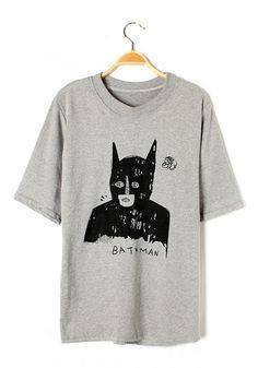 Grey Cartoon Bat Short Sleeve Cotton Blend T-Shirt / $21