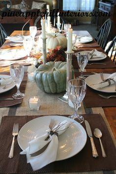 Rustic table setting for Fall / pumpkin table setting