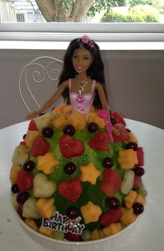"Barbie Doll ""Fruit"" Cake! Perfect for kids with allergies. Or when school wont allow cupcakes."