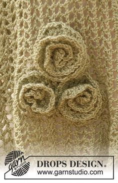 "Crochet DROPS flowers in ""BabyAlpaca Silk"".  This is very pretty and free pattern!"
