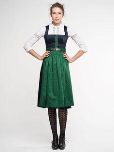 Traditionelles Dirndl von Gottseidank- Modell Monika M in blau / grün