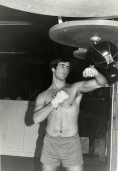 Steve Peschansky is seen in this image training at the Left Hook Gym. It was located at the corner of Roscoe and DeSoto Streets in Canoga Park, Calif. Sylvester Stallone trained at this facility for two of his Rocky films.  San Fernando Valley History Digital Library.
