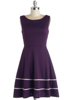 Fun-day Best Dress - Mid-length, Knit, Purple, White, Pockets, Casual, A-line, Sleeveless, Better, Scoop