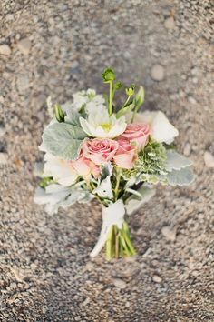 Bridesmaid bouquets - I want them to be smaller than the brides but still incorporate the same/similar flowers yet with more greens.