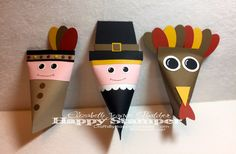 table favors, sour cream, stampin up, thanksgiving, punch art, pilgrim, indian, native american, turkey