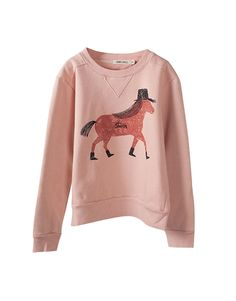 BOBO CHOSES  Baby Girl Pink Horse Print Sweatshirt