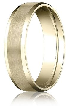 Comfort-fit 14K Yellow Gold Wedding Band with Beveled Edge Satin Finish – 4 mm #mens_wedding_ring