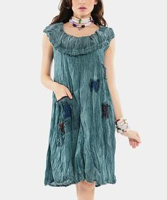 Loving this Blue Embroidered Ruffle Shift Dress on #zulily! #zulilyfinds