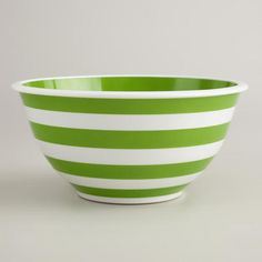 Green and White Mixing Bowl