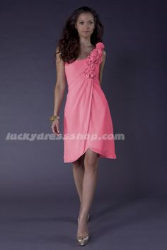Pink Knee-length Chiffon Bridesmaid Dresses With Flower(s) And Sleeveless (MW3E0H)