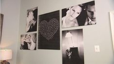 """Inexpensive DIY Gallery Wall from Large Print Photos, """"engineer prints"""" from office supply store for $7. Black and white only. Mounted on wall insulation sheets or foam core."""
