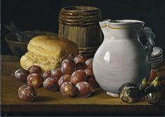 Bodegón con ciruelas, brevas, pan, barrilete, jarra y otros recipientes, de Luis Meléndez
