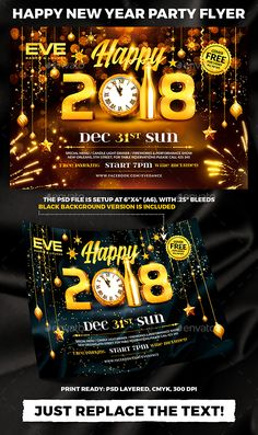 happy new year 2018 party flyer template psd nye design christmas poster christmas