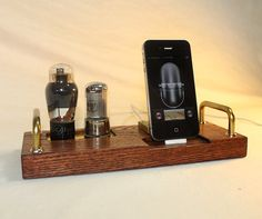 iPhone Dock - iPod Dock - Charger and Sync Station - Choose New Plug or 30 Pin - Tube Model DeLuxe 2 - Oak - steampunk