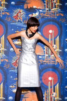 bb7d3cadb2da7e 1970s Thierry Mugler Couture silver dress Vintage Designer Clothing