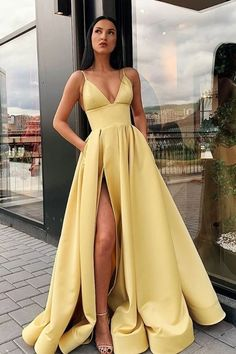 Buy A Line Spaghetti Straps V Neck Yellow Prom Dresses with Pockets High Slit Satin Formal Dress online.Shop short long ombre prom, homecoming, bridesmaid evening dresses at Couture Candy Cocktail party dresses, formal ball gowns in ombre colors. Prom Dresses With Pockets, V Neck Prom Dresses, Cute Prom Dresses, Prom Outfits, Dresses Dresses, Dress Prom, Ball Dresses, Prom Gowns, Bridesmaid Dresses