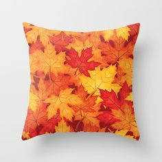 #autumn #fall #leaves #leaf #orange #yellow #red #brown #multicolored #pillow #livingroom in different #homedecor products too. Check more at society6.com/julianarw