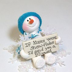 *POLYMER CLAY ~ If kisses were snowflakes: Snowman ornament