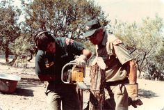 Jim Goldthwaite and Head Council Ranger, Roy Haston, at the 1980 summer ordeal at Worth Ranch.