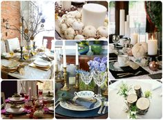 Choose non-traditional colors like purple, pink, blue or even black & white to dress your table. http://blog.homes.com/2012/11/thanksgiving-tablescape-and-centerpiece-ideas/#