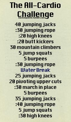 All-cardio workout challenge