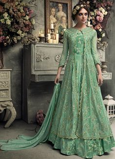 Buy Adoring Green Jacket Style Applique Embroidered Dress For Mehendi Eid Dresses, Party Wear Dresses, Indian Dresses, Fashion Dresses, Bridal Dresses, Anarkali Tops, Anarkali Dress, Anarkali Suits, Choli Dress