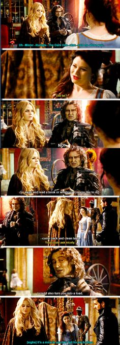 This scene will never not make me laugh! Rumple and Belle bickering like an old married couple already!