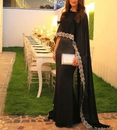 Cheap prom dresses, Buy Quality prom dress with cape directly from China dress prom dresses Suppliers: Black Mermaid Chiffon Arabic Prom Dresses With Cape Boat Neck Lace Applqiues Women Formal Evening Wear Custom Made Sweep Train Muslim Prom Dress, Pakistani Formal Dresses, Evening Outfits, Evening Dresses, Prom Dresses, Caftan Dress, Cape Dress, Abaya Fashion, Fashion Dresses