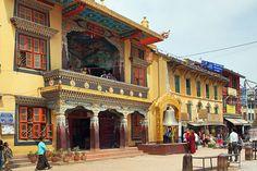 Monastery at Boudhanath Buddhist Temple in Kathmandu, Nepal