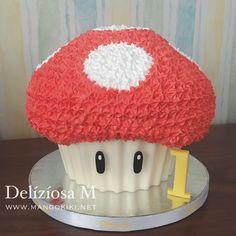 Super Mushroom Giant Cupcake