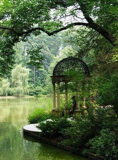 Serene garden with waterfront gazebo ~