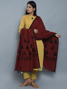 Mustard Maroon Cotton Kurta and Pants with Block Printed Dupatta- Set of 3
