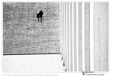 black and white street photography  'Couple on Stairs' by PASiNGA