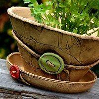 květináč velký KNOFLÍK-na obj. Pottery Pots, Slab Pottery, Ceramic Pots, Ceramic Clay, Concrete Planter Boxes, Coil Pots, Big Vases, Play Clay, Flower Bowl
