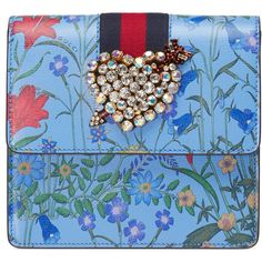 Gucci Guccitotem New Flora Print Leather Clutch (20,925 MXN) ❤ liked on Polyvore featuring bags, handbags, clutches, accessories, blue, runway accessories, women, blue leather handbags, genuine leather handbags and gucci handbags