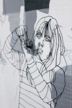 """Rosie James : """"Photographs are used to still movement and to reveal details… Outline Art, Outline Drawings, Mona Lisa Louvre, Rosie James, Create Drawing, Experimental Photography, Contemporary Embroidery, National Art, Art Courses"""