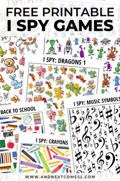I Spy Games for Kids - Tons of Free Printables! Do your kids love I spy games? There's over 100 printable I spy games for kids here for every season, occasion, and interest and tons of these are free printables! Spy Games For Kids, I Spy Games, Printable Activities For Kids, Toddler Activities, Preschool Activities, Education Games For Kids, Language Games For Kids, Seasons Activities, Toddler Games