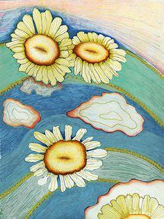 "Sunflower Arches #2-print by M. Kolsoum Ginney mixed media ~ 14"" x 11"""