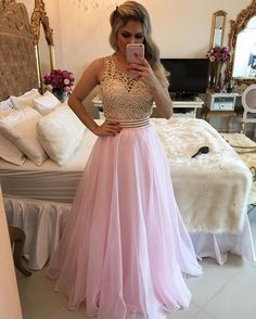 White A-line Beads Chiffon Long Prom Dress, White Evening Dress Luxury Prom Dresses Pink Evening Dress, Formal Evening Dresses, Dress Formal, Cheap Dresses, Sexy Dresses, Fashion Dresses, Beautiful Prom Dresses, Elegant Dresses, Vestidos Sexy
