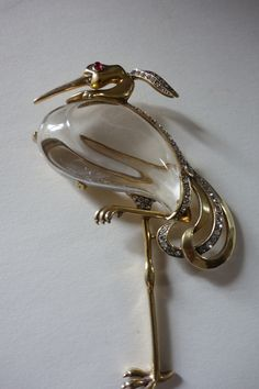 Fantastic Heron Brooch almost mint condition FOR SALE on my etsy buydsign page