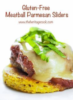 #GlutenFree Meatball Sliders on polenta disks, covered with marinara sauce & melted cheese = WOW! © 2016 Jane Bonacci, The Heritage Cook