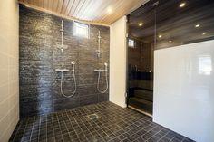 Saunan ja pesuhuoneen väliset lasitukset ja täyslasiovet Tampereella Spa, Saunas, Bathroom Designs, Home Deco, Showers, Bathrooms, Bathtub, Home And Garden, House