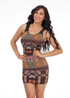 Cute Dresses-Fashion Print Dress-Mesh sleeveless dress #modaxpress #dresses #fashion