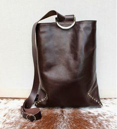 0b2b2949aaf5 Brown leather mini backpack for woman