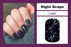 Night Scape is a new nail wrap this Spring! Featuring a twinkling blue-black sky, this design is perfect for an evening of stargazing.  Pair with Among The Stars, Fizzy Grape, or Berry Sparkler! For extra fun, try layering Sweet Flight over top!  Buy 3 sheets of Jamberry nail wraps and get 1 free! Shop online at www.jammingbug.jamberrynails.net