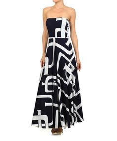 Look at this Karen T. Design Black & White Geo Strapless Maxi Dress - Women on #zulily today!