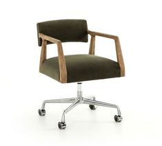 Shop this four hands abbott chaps ebony / burnt oak polished steel computer chair from our top selling Four Hands office chairs. LuxeDecor is your premier online showroom for home office furniture and high-end home decor. Burke Decor, Steel Material, Mid Century Style, Swivel Chair, Armchair, Upholstered Desk Chair, Chair Cushions, Modern Chairs, Modern Desk Chair